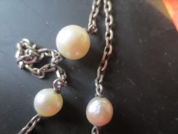 COLLIER AVEC PERLES METAL ARGENT  - VOIR PHOTOS - Necklaces/Chains