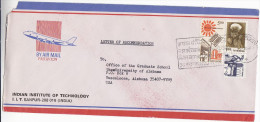 1990 Air Mail INDIA AIRCRAFT Pic COVER Technology Institute SLOGAN Pmk Stamps SOLAR ENERGY , CATTLE, Aviation - Airplanes