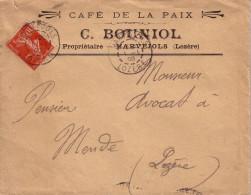 LOZERE - MARVEJOLS LE 1-1-1908 SUR 10c SEMEUSE - ENTETE CAFE DE LA PAIX C.BOUNIOL PROPRIETAIRE MARVEJOLS - Marcophilie (Lettres)