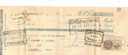 Lettre Change 1931 MITTEAU LAVERGNE PERIGUEUX Dordogne Pour Gourdon Lot - Timbre Fiscal - Bills Of Exchange