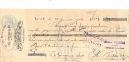 Lettre Change 1904 VRAU Fil De Lin LILLE Nord Pour St Georges Sur Cher Loir Et Cher - Cachet  Fiscal - Lettres De Change