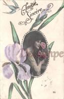 FEMMES - FRAU - LADY, Profil,  Médaillon - Iris Peints à La Main - Amitié - Profile In Medallion - Iris Hand-paints - Women