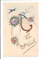 VIVE SAINTE CECILE - Carte Peinte De Fleurs Et Hirondelle - Prénoms