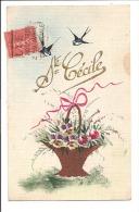 SAINTE CECILE - Carte Peinte D´un Panier De  Fleurs Et Hirondelle - Prénoms