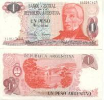 BILLETE BILLET BANCO CENTRAL DE LA REPUBLICA ARGENTINA UN PESO ARGENTINO SERIE A GENERAL JOSE DE SAN MARTIN TBE - Argentinië