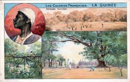 LA GUINÈE (Guinea, Westafrika), Les Colonies Francaises, Litho-Karte 1900? Nicht Gelaufen, Seltene Karte - Guinée