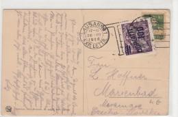 1926, CARTE SUISSE, , LAUSANNE - MARIENBAD, TAXE TCHEQUE  100 /5004 - Taxe