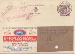 Entier Postal DE BELGIQUE Publibel  VOIR SCAN POUR ETAT N°860 AUTOMOBILE FORD  ETS PLASNAN BRUXELLE - Enteros Postales