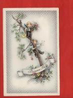 1272- Bonnes Fêtes - Garçonnets Blonds Sur Une Branche - Fleurs, Oiseau, Cadeau  (recto-verso) - Natale