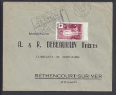 FR - 1957 - RHONE -  LETTRE DE LYON A DESTINATION DE BETHENCOURT SUR MER , AVEC TIMBRE CROIX ROUGE - - 1921-1960: Periodo Moderno