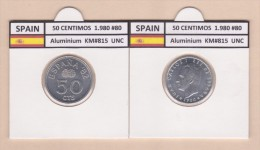 SPAIN   50 Céntimos 1.980 #80  Aluminium  KM#815   Uncirculated     T-DL-9363 Australia. - [ 5] 1949-… : Kingdom