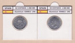 SPAIN   50 Céntimos 1.980 #80  Aluminium  KM#815   Uncirculated     T-DL-9363 Suiza - [ 5] 1949-… : Royaume