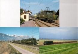 """SUISSE : Locomotive électrique Ae4/7 """"Sécheron"""" Et Ae 3/6 """"Buchli"""" Lot De 6 CPM Détails 2ème Scan - Trains"""