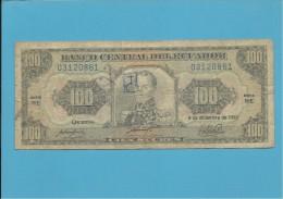 ECUADOR - 100 SUCRES - 04.12.1992 - Pick 123Ab - Série WE - Blue Serial # - Ecuador