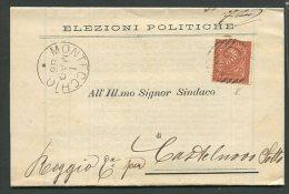 1886  RARA  COLLETTORIA  DA  MONTECCHIO  X   CASELNOVO DI  SOTTO REGGIO EMILIA - 1861-78 Vittorio Emanuele II