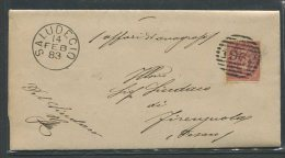 1883  RARA  COLLETTORIA  DA   SALUDECIO   X  FIORENZUOLA - 1861-78 Vittorio Emanuele II