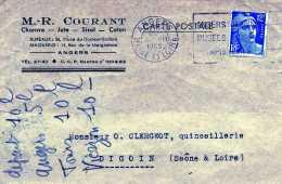 CARTE POSTALE M R COURANT ANGERS 49 PLACE BICHON RUE MEIGNANNE AGRICULTURE PUBLICITÉ CHANVRE COTON JUTE SISAL - Postmark Collection (Covers)