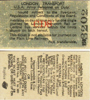 Railway Ticket London Transport USA Army Personnel On Duty Replica - Railway