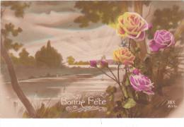 Carte Postale Ancienne Fantaisie - Bonne Fête - Fleurs - Auguri - Feste