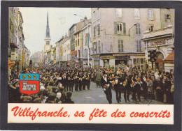 VILLEFRANCHE-sur-SAÔNE (près Limas Gleizé Quilly Jassans) La FÊTE Des CONSCRITS Défilé Conseil De Révision Rue Nationale - Villefranche-sur-Saone