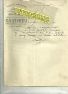 62 - Pas-de-calais - HARNES - Facture DAUTHIEU - Menuiserie - Charpente – 1905 - 1900 – 1949