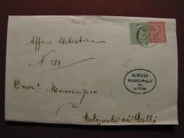 """ITALIA Regno-1866- """"T 14-15 Torino"""" C. 2 VERONA>COLOGNOLA Ai COLLI (descrizione) - 1861-78 Victor Emmanuel II"""