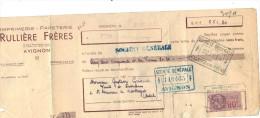 Lettre Change 1942 RULLIERE Imprimerie Papeterie AVIGNON Vaucluse Pour St Sauveur De Montagut Ardèche - Timbre Fiscal - Lettres De Change