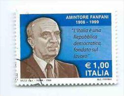 Italia 2008 ; Centenario Della Nascita Di Amintore Fanfani ; Usato - 6. 1946-.. Repubblica