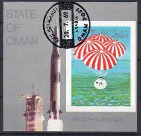 20-7-1969, Amerrissage De La Capsule D'Apollo, Oblitéré, State Of Oman, Lot 40505 - Asia