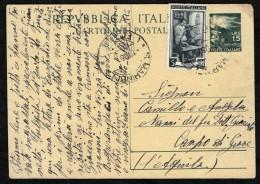 ITALIA -  INTERO POSTALE - DA SANTA MARINELLA -  DEMOCRATICA 15 LIRE CON ITALIA AL LAVORO DA 5 LIRE - 6. 1946-.. Repubblica