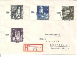 GG036a/ Mi.Nr. 47-50, Krakau-Leipzig 1940 (alle Mit Seitenrand) - Besetzungen 1938-45