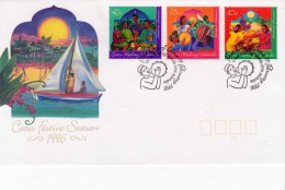 COCOS (KEELING) ISLANDS 1996, Sehr Schöne 3 Fach Sondermarken Fankierung Auf Schmuck-Brief, Sonderstempel - Kokosinseln (Keeling Islands)