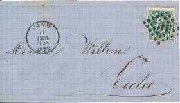 1872 Brief Met PZ30 Puntstempel 141 En DU Van Gand Naar Eecloo (firmasticker) Zie Scan(s) - 1869-1883 Leopold II