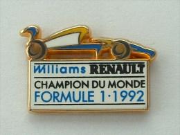 Pin´S FORMULE 1 -  WILLIAMS RENAULT - CHAMPION DU MONDE 1992 - A.B - F1