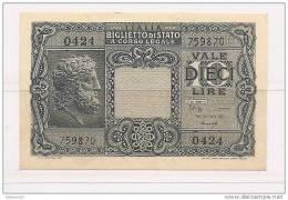"""Italia - Banconota Non Circolata Da 10 Lire """"Giove"""" - Luogotenenza - 1944 - [ 1] …-1946 : Kingdom"""