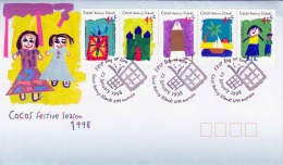 COCOS (KEELING) ISLANDS 1998, Sehr Schöne 5 Fach Sondermarken Fankierung Auf Schmuck-Brief, Sonderstempel - Kokosinseln (Keeling Islands)