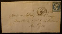 22 Sur Lettre , Oblitéré BFE Algérie T.15 + GC 5005 Alger - 1849-1876: Période Classique