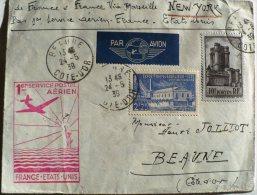 LETTRE AVEC 1er SERVICE AERIEN - MARSEILLE NEW - YORK  24/05/1939 (de France Via Marseille) TBE - Airmail