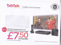 TALK TALK BROADBAND TELEVISION Ilus ADVERT COVER ALAN CARR TV PROGRAMME Prepaid Stamps GB Broadcasting Telecom Computing - Telecom