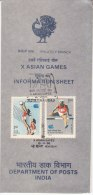 Stamped Information On Asian Games, Sport Volleyball Athletics Ref. Swimming, Badminton, Wrestling, Golf.  India 1986 - Swimming