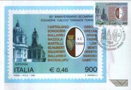 ITALIA 1999 - FDC IL GRANDE TORINO SUPERGA - MASSIMA QUALITA´ LUSSO - 6. 1946-.. República