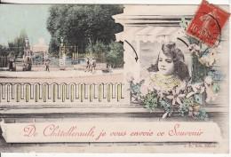 De CHATELLERAULT (Vienne) Je Vous Envoie Ce Souvenir-FANTAISIE-Jeune Fille-Fleur-Parc-VOIR 2 SCANS - - Chatellerault