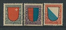 BL4-103 SWITZERLAND 1920 YV 176-178 PRO JUVENTE, WAPPEN, ARMOIRES, COTE OF ARMS. USED, GEBRUIKT, OBLITERE. - Postzegels