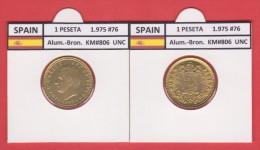 SPAIN   1 PESETA  1.975 #76  Aluminium-Bronze  KM#806   Uncirculated  T-DL-9364 Can. - 1 Peseta