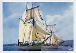 """Thème  Bateaux--Goélettes De La Marine Nationale """"L'Etoile"""" Et La """"Belle Poule"""",cpsm 10 X 15  N° MX 3800 éd JOS - Sailing Vessels"""