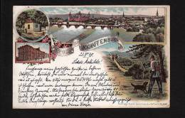 GRUSS AUS ASCHAFFENBURG  - LITHO / LITHOGRAPHY PC - SEND 1898 TO LOHR A/MAIN (1355) - Aschaffenburg