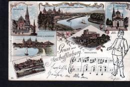 GRUSS AUS ASCHAFFENBURG  - LITHO / LITHOGRAPHY PC - SEND 1898 TO LOHR A/MAIN (1360) - Aschaffenburg