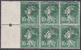 France Préoblitéré N°  51 ** Semeuse De Roty Le 10 Cts Vert - Variété Du A (cassé) Dans Bloc De 6 - Préoblitérés