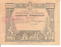 TABLEAU D HONNEUR - Collège Carnot - Fontainebleau - Diplome Und Schulzeugnisse