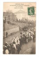 CPA - 59 -  Houdain - Funérailles Victimes Catastrophe Du 7 Avril 1912 - Départ De La Mairie - Cortège - Peu Commune - Funérailles
